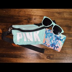 VS Pink SpringBreak fannypack, sunglasses & wallet